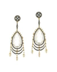 Queensbee - Metallic Pearl Earrings With Snow Quartz - Lyst