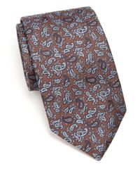 Eton of Sweden | Brown Paisley Silk Tie for Men | Lyst