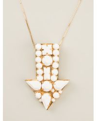 Stella McCartney - White Arrow Gem Stone Necklace - Lyst