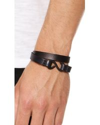 Cause and Effect - Black Leather Double Wrap Cuff for Men - Lyst