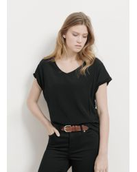 Violeta by Mango - Black V-neck T-shirt - Lyst