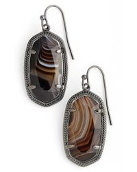 Kendra Scott | Multicolor 'dani' Drop Earrings - Gunmetal/ Black Banded Agate | Lyst