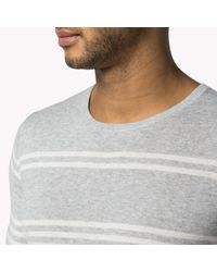 Tommy Hilfiger - Gray Cotton Striped Crew Neck Sweater for Men - Lyst