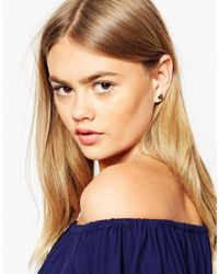 ASOS | Metallic Angled Heart Stud Earrings | Lyst