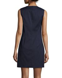 Peter Pilotto - Blue Embroidered Sleeveless Shift Dress - Lyst