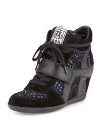 Ash - Black Bowie Sequined Hidden-wedge Sneaker - Lyst