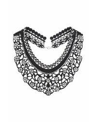 TOPSHOP - Black Laser-cut Rhinestone Necklace - Lyst