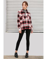 Forever 21 - Red Plaid Shirt Jacket - Lyst