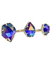 Kendra Scott | Blue Naomi Two Finger Ring Adjustable | Lyst
