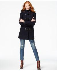 Tommy Hilfiger | Blue Plaid-trim Wool Duffle Coat | Lyst
