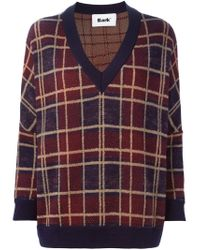 Bark - Blue Plaid V-neck Sweater - Lyst
