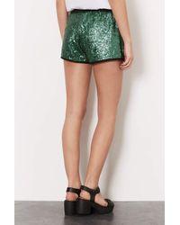 TOPSHOP | Green Emerald Sequin Runner Shorts | Lyst