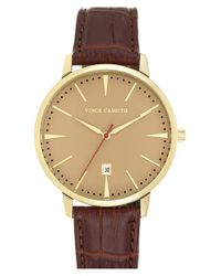 Vince Camuto | Metallic Round Leather Strap Watch for Men | Lyst