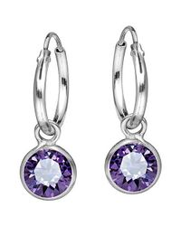 Aeravida | Metallic Elegant Purple Cubic Zirconia Dangle Sterling Silver Hoop Earrings | Lyst