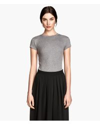 H&M | Gray Ribbed Top | Lyst