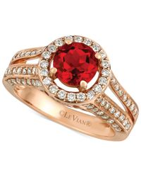 Le Vian | Red Fire Opal (3/4 Ct. T.W.) And Diamond (3/4 Ct. T.W.) Round Ring In 14K Rose Gold | Lyst