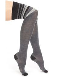Smartwool - Gray Chevron Stripe Over The Knee Socks - Lyst