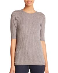 VINCE | Gray Skinny Rib Sweater-knit Tee | Lyst