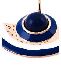 Tory Burch - Blue Enamel Half-Moon Earrings - Lyst