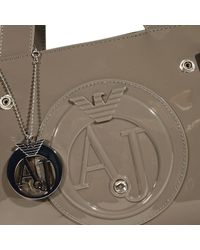 Armani Jeans - Gray Handbag Patent Leather Classic Mini Shopping Bag + Rh 29x20x10 Cm - Lyst