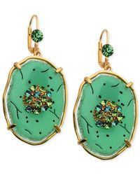 T Tahari | Green Gold-Tone Jade Resin Stone And Crystal Drop Earrings | Lyst