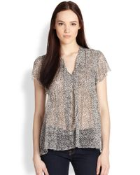 Joie - Gray Macy Printed Silk Chiffon Blouse - Lyst