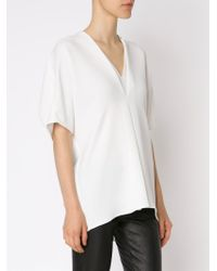 Vince - White V-neck Blouse - Lyst