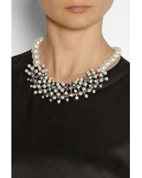 Kenneth Jay Lane | White Rhodium-Tone, Faux Pearl And Crystal Necklace | Lyst
