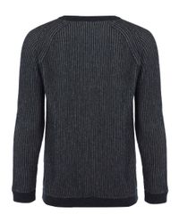 Nudie Jeans - Blue Navy Aron Recyled Two Colour Chunky Knit Jumper for Men - Lyst