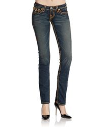 True Religion | Blue Straight-Leg, Top-Stitched Jeans | Lyst