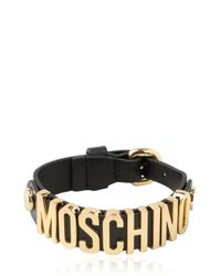 Moschino - Black Grained Leather Bracelet for Men - Lyst