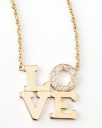 Zoe Chicco | Metallic Pave Diamond Love Pendant Necklace | Lyst