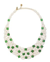 kate spade new york - Green Madison Ave. Collection Magnolia Garden Gems Bib Necklace - Lyst