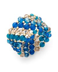 Style & Co. - Blue Goldtone Teal Beaded Coil Bracelet - Lyst