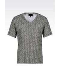 Emporio Armani | Gray Printed T-shirt for Men | Lyst