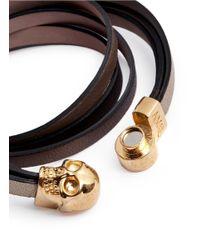 Alexander McQueen - Metallic Triple Strap Leather Skull Bracelet - Lyst