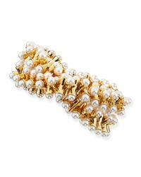 Kenneth Jay Lane - Metallic Stretchy Pearl-tip Bracelet - Lyst
