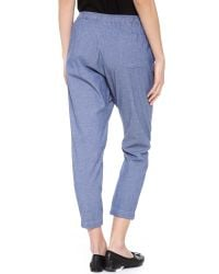 CLU - Blue Cropped Sarong Pants - Lyst