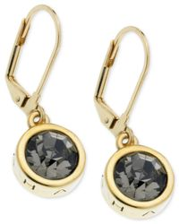 T Tahari | Black Gold-tone Essential Signature Drop Earrings | Lyst