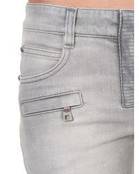 Balmain - Gray Skinny Mid-Rise Stretch-Denim Jeans - Lyst