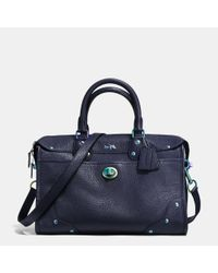 COACH - Blue Rhyder Satchel In Oil Slick Rivets Leather - Lyst