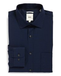 W.r.k. - Blue Extra Trim Fit Stretch Check Dress Shirt for Men - Lyst