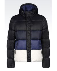 Armani Jeans | Black Hooded Down Jacket In Technical Fabric for Men | Lyst
