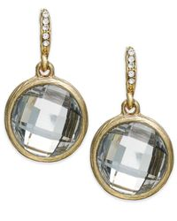 INC International Concepts | Metallic Gold-tone Round Crystal Drop Earrings | Lyst