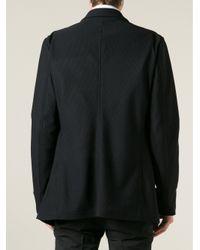 Giorgio Armani - Black Double Breasted Piqué Blazer for Men - Lyst