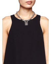 Alexander McQueen - Metallic Studded Lock Pendant Chain Necklace - Lyst