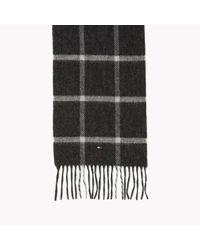 Tommy Hilfiger - Black Wool Check Scarf for Men - Lyst