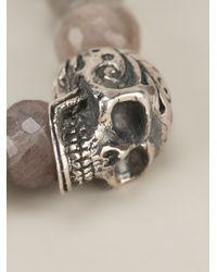 King Baby Studio - Gray Beaded Skull Bracelet - Lyst