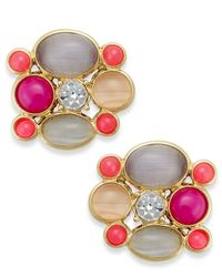Kate Spade | Multicolor Gold-Tone Colorful Stone And Crystal Stud Earrings | Lyst