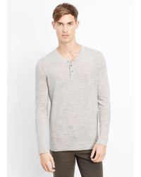 Vince - Gray Wool Linen Jaspé Henley Sweater for Men - Lyst